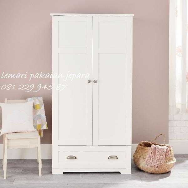 Desain lemari pakaian anak minimalis modern dan terbaru model desain almari 2 pintu warna putih cat duco perempuan kayu Jepara harga murah