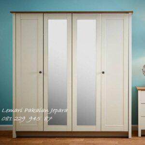 Desain lemari pakaian minimalis 4 pintu kaca mewah modern dan klasik terbaru model almari baju warna putih cat duco harga murah