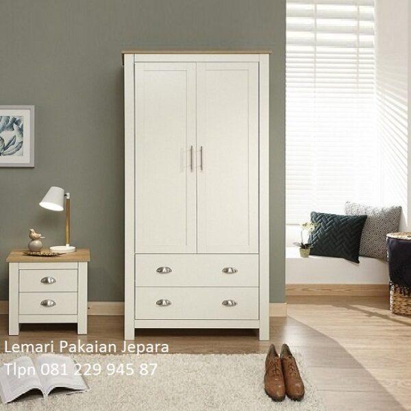 Desain lemari pakaian minimalis modern dan klasik terbaru model desain almari baju anak 2 pintu laci warna putih kayu Jepara harga murah