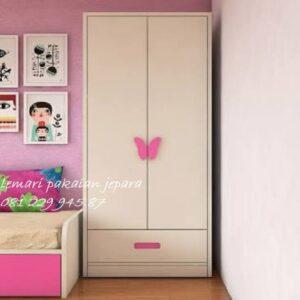 Harga lemari pakaian anak karakter model desain almari baju 2 pintu kupu-kupu buterfly laki-laki dan perempuan minimalis modern harga murah