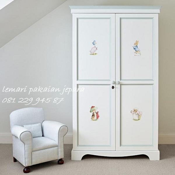 Harga lemari pakaian anak perempuan karakter 2 pintu dari kayu mahoni dan jati Jepara minimalis modern dan terbaru 2 pintu harga murah