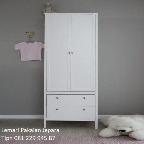 Harga lemari pakaian minimalis 2 pintu murah warna putih model desain almari baju gantung laci sliding modern terbaru kayu Jepara