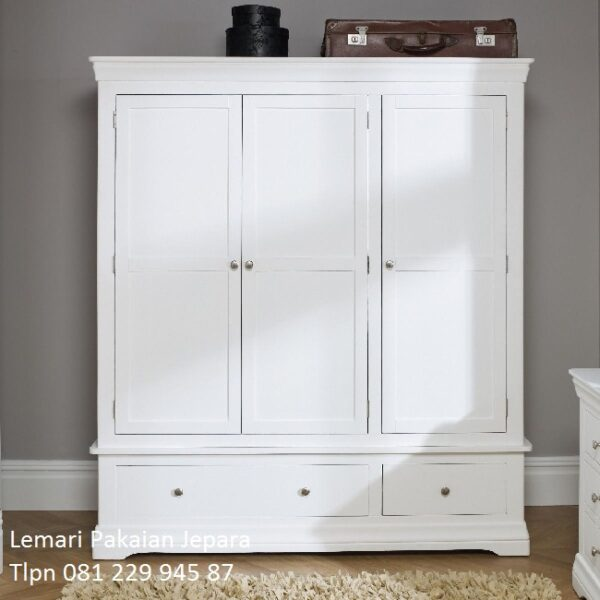 Harga lemari pakaian minimalis 3 pintu murah model desain almari baju laci sliding kayu Jepara warna putih modern dan klasik terbaru