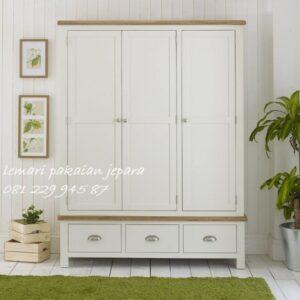 Lemari pakaian anak 3 pintu minimalis mewah modern dan klasik tiga laci warna putih model desain almari baju perempuan laki-laki harga murah