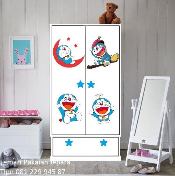Lemari pakaian anak karakter Doraemon model desain almari baju 2 pintu minimalis modern dan terbaru anak perempuan dan laki-laki harga murah