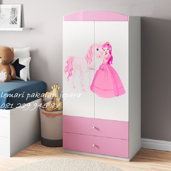 Lemari pakaian anak karakter Frozen model desain almari baju 2 pintu minimalis modern terbaru putih laki-laki dan perempuan harga murah
