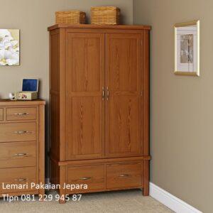 Lemari pakaian anak kayu jati Jepara model desain almari baju 2 pintu dan 2 laci minimalis mewah modern dan klasik terbaru harga murah