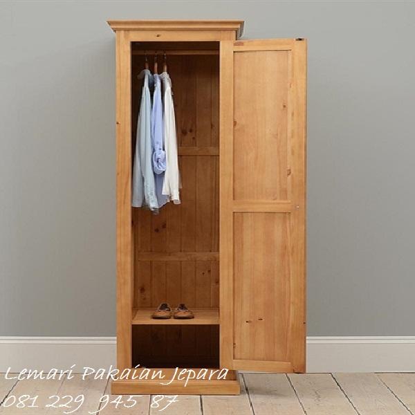 Lemari pakaian anak kost minimalis mewah modern dan klasik terbaru model desain almari baju 1 pintu kos untuk gantung kayu jati harga murah