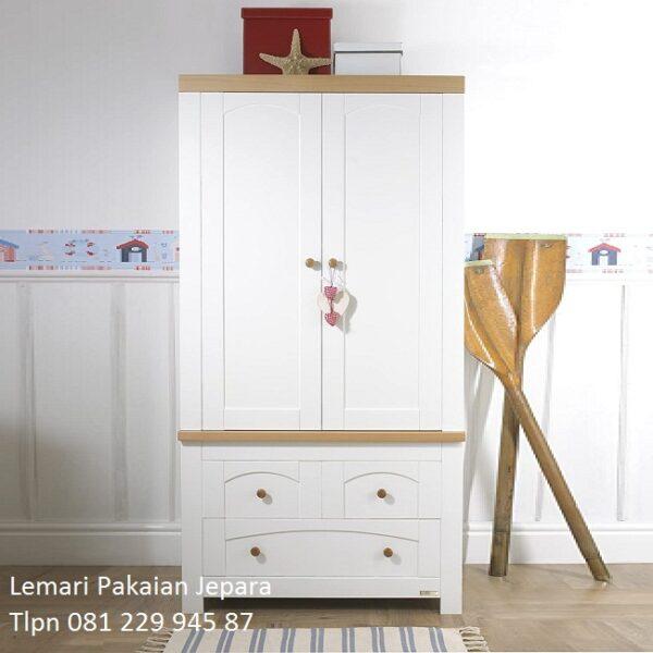 Lemari pakaian anak laki-laki minimalis mewah modern dan klasik terbaru warna putih cat duco model desain almari baju 2 pintu harga murah