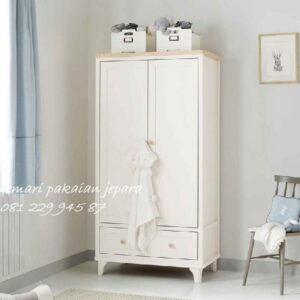 Lemari pakaian anak minimalis 2 pintu model desain almari baju laki-laki dan perempuan modern dan klasik terbaru laci warna putih harga murah