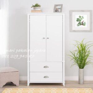 Lemari pakaian anak minimalis 2 pintu modern mewah dan klasik terbaru model desain almari baju 2 laci warna putih kayu Jepara harga murah