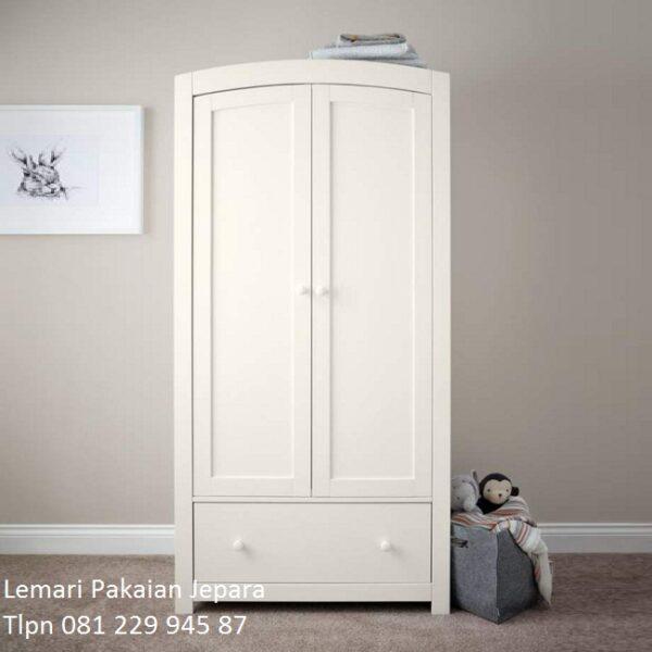 Lemari pakaian anak murah minimalis modern dan terbaru warna putih model desain almari baju 2 pintu karakter cowok di Surabaya harga murah