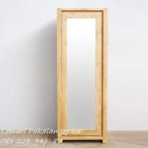 Lemari pakaian minimalis 1 pintu kayu jati jepara model almari baju kost atau kos kontrakan satu kaca cermin gantungan sederhana harga murah