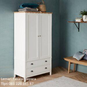 Lemari pakaian minimalis 2 pintu kaca dan kayu model desain almari baju anak sliding geser dan bukaan biasa modern putih laci harga murah