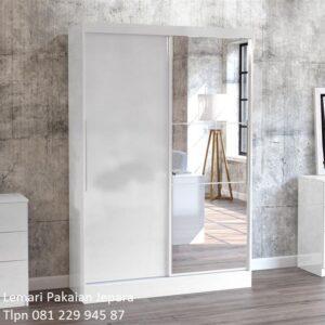 Lemari pakaian minimalis 2 pintu sliding geser model desain almari baju ukuran anak dan dewasa kaca cermin warna putih modern harga murah
