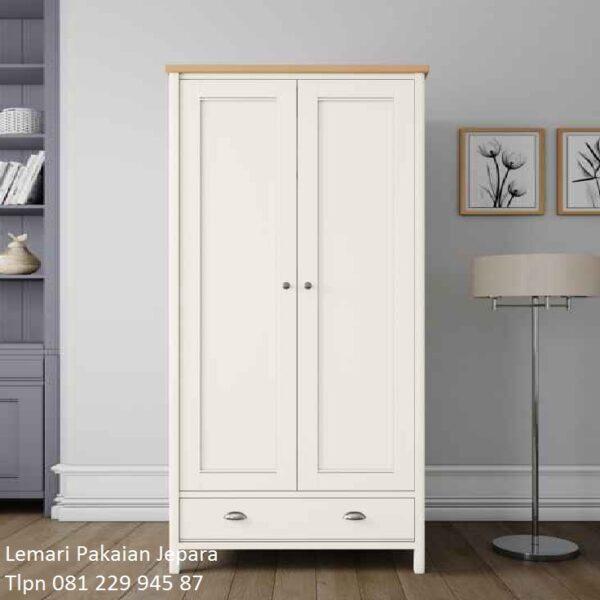 Lemari pakaian minimalis 2 pintu modern mewah dan klasik terbaru warna putih model desain 1 laci kayu mahoni warna putih Jepara harga murah