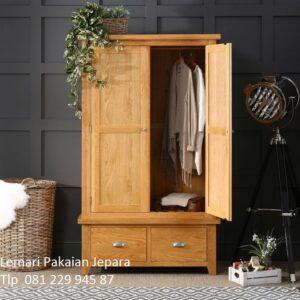 Harga lemari pakaian kayu jati 2 pintu murah model desain almari baju dua laci bawah minimalis mewah modern dan klasik terbaru untuk anak