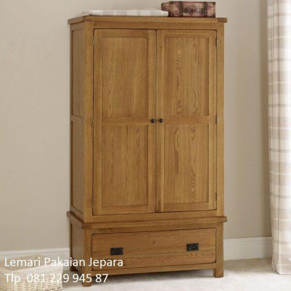 Harga lemari pakaian kayu jati minimalis murah model desain almari baju 2 pintu dan 1 laci bawah mewah klasik dari Jepara untuk anak termurah