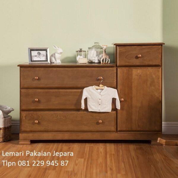 Lemari pakaian bayi dari kayu jati Jepara model baby tafel baju anak laci desain minimalis modern dan klasik terbaru harga murah