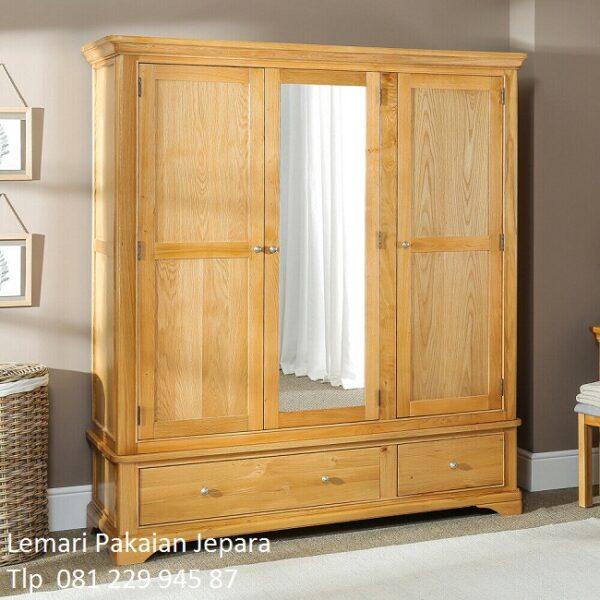 Harga lemari pakaian kayu jati 3 pintu murah model desain almari baju tiga laci kaca cermin minimalis mewah modern dan klasik terbaru Jepara