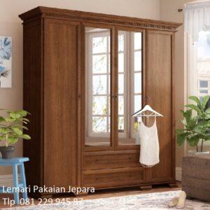 Harga lemari pakaian kayu jati 4 pintu murah model desain almari baju dewasa 2 laci daun kaca cermin minimalis mewah modern klasik terbaru