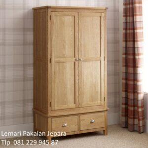 Harga lemari pakaian kayu jati Jepara murah model desain almari baju anak dan dewasa 2 pintu dan laci minimalis mewah klasik terbaru