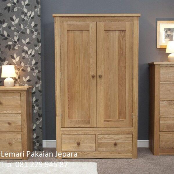 Harga lemari pakaian kayu jati murah model desain almari baju 2 pintu da laci Jepara minimalis mewah dan modern klasik terbaru anak