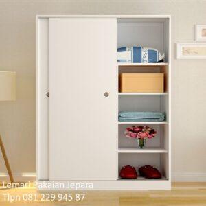 Harga lemari pakaian sliding 2 pintu kaca dan biasa warna putih cat duco model desain almari baju door geser minimalis mewah modern dan murah
