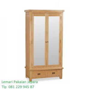 Lemari pakaian kayu jati 2 pintu kaca cermin model desain almari baju anak minimalis mewah modern dan klasik terbaru Jepara harga murah