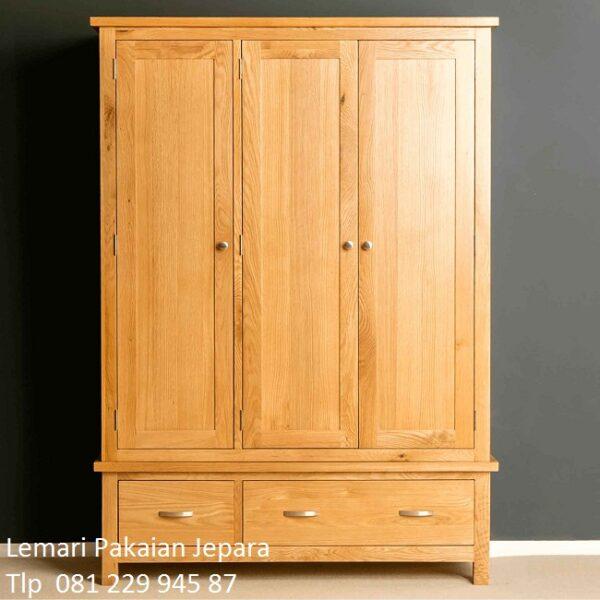 Lemari Pakaian kayu jati 3 pintu dan 2 laci Jepara model desain almari baju minimalis mewah modern dan klasik kaca terbaru harga murah