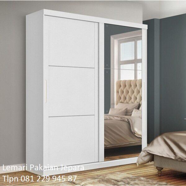 Lemari pakaian pintu sliding minimalis mewah modern dan klasik terbaru 2 pintu kaca geser dorong door warna putih kayu Jepara harga murah