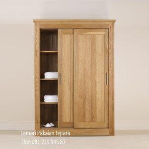 Lemari pakaian sliding 2 pintu kayu jati Jepara model desain gambar almari baju minimalis mewah modern dan klasik terbaru harga murah