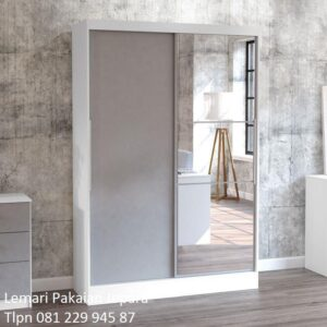 Lemari pakaian sliding 2 pintu kaca harga murah model desain almari baju minimalis mewah modern dan klasik terbaru warna putih daun cermin