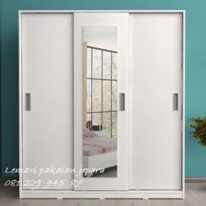 lemari pakaian sliding 3 pintu kaca minimalis mewah modern dan klasik terbaru model desain almari baju kayu Jepara warna putih harga murah
