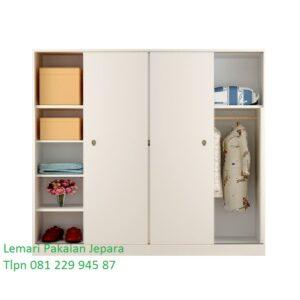 Lemari pakaian sliding 4 pintu minimalis mewah moden dan klasik terbaru warna putih cat duco model desain gambar daun kaca harga murah