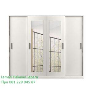 Lemari pakaian sliding 4 pintu kaca minimalis mewah modern dan klasik terbaru model desain warna putih cat duco daun cermin harga murah