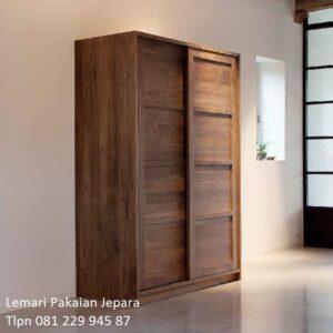 Lemari pakaian sliding Bandung kayu jati model desain almari baju 2 pintu slidingdoor geser Jepara minimalis modern klasik harga murah