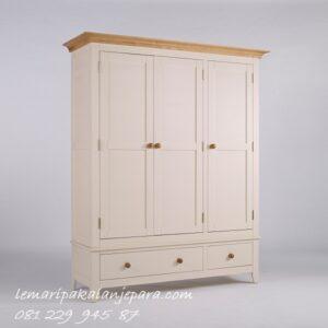 Desain lemari pakaian 3 pintu minimalis mewah dan modern klasik terbaru model almari baju tiga laci warna putih cat duco harga murah