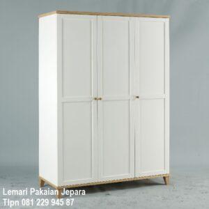 Harga lemari pakaian 3 pintu minimalis mewah modern dan klasik terbaru warna putih cat duco tiga baris kayu Jepara di Medan murah