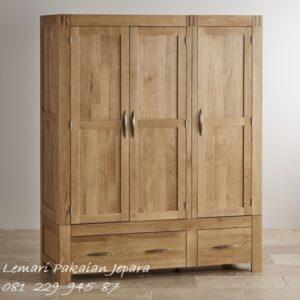 Harga lemari pakaian 3 pintu bahan kayu jati Jepara model desain almari baju minimalis mewah modern dan klasik gantungan dan rak harga murah