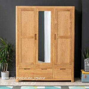 Harga lemari pakaian 3 pintu jati Jepara model desain almari baju bahan kayu minimalis mewah modern dan klasik 2021 terbaru harga murah