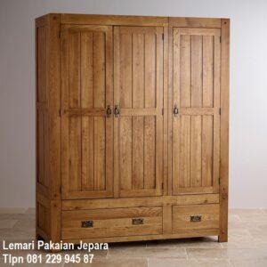 Harga lemari pakaian 3 pintu kayu biasa model desain almari baju tiga minimalis mewah modern dan klasik terbaru jati Jepara harga murah