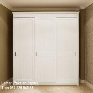 Harga lemari pakaian 3 pintu minimalis sliding door atau geser model desain almari baju mewah modern klasik terbaru warna putih murah
