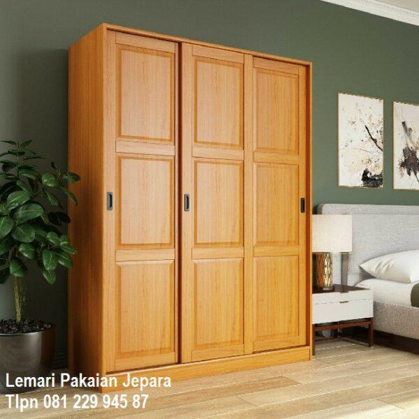 Harga lemari pakaian 3 pintu sliding door kayu jati Jepara model desain almari baju geser minimalis mewah modern dan klasik terbaru murah