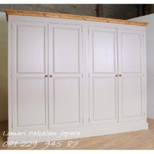 Harga lemari pakaian 4 pintu minimalis modern dan klasik terbaru warna putih model desain almari baju biasa dan sliding kayu Jepara murah