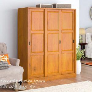 Lemari pakaian 3 pintu geser kayu jati Jepara model desain almari baju sliding door kaca minimalis mewah dan klasik terbaru harga murah