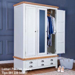 Lemari pakaian 3 pintu kaca minimalis mewah modern dan klasik terbaru warna putih cat duco model desain almari baju daun cermin harga murah