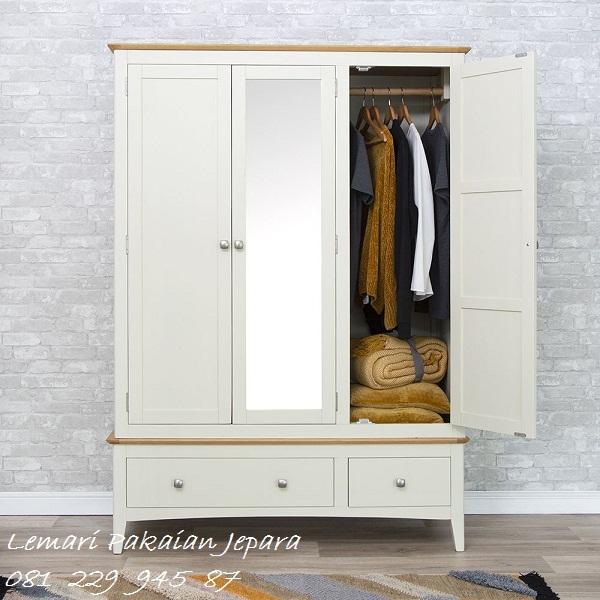 Lemari pakaian 3 pintu minimalis mewah dan modern klasik terbaru model desain almari baju kaca warna putih kayu Jepara harga murah