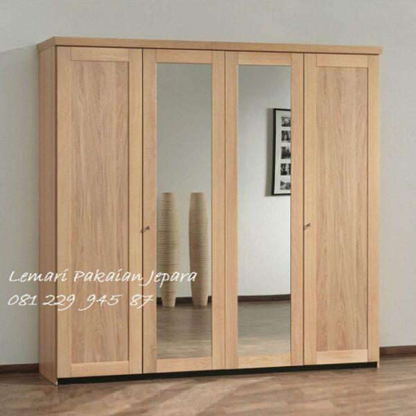 Lemari pakaian 4 pintu kayu jati Jepara model desain almari baju empat daun kaca cermin minimalis mewah modern dan klasik terbaru harga murah