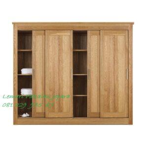 Lemari pakaian 4 pintu geser sliding door model desain gambar almari baju empat daun kayu jati Jepara minimalis mewah dan modern harga murah